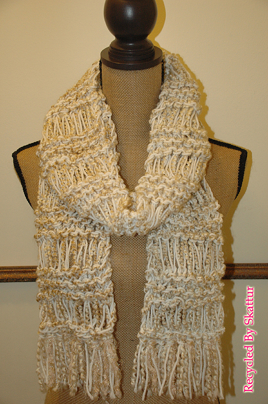 White Cream Beige Hand Knit Scarf / Handmade Accessories Scarf Knit