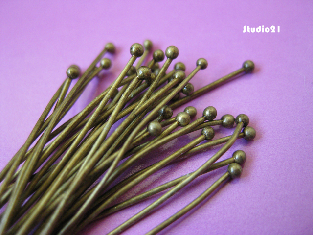 100 pcs of Antique Bronze 2 inch Ball End Headpin