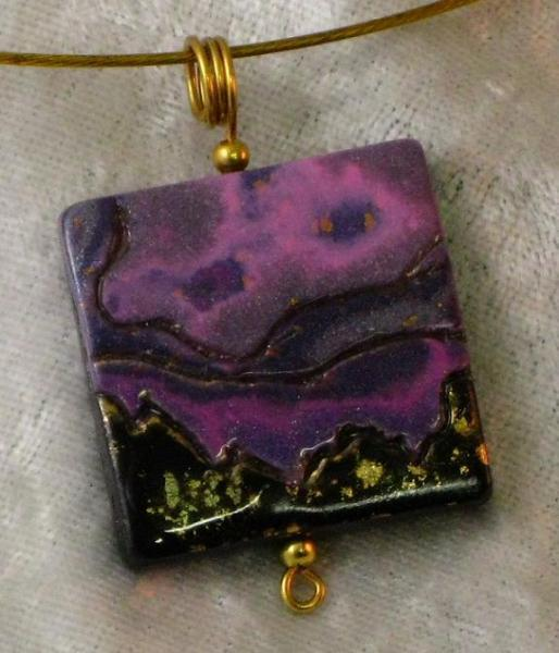 Purple, Black and Gold Landscape Pendant
