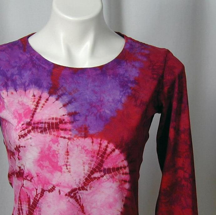 Wild Hearted Shibori Bamboo Tee in Scarlet, Purple, and Hot Pink (s)