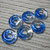 MADE to ORDER Handmade Translucent Fused Glass Beads / Set of 6 /  Blue Clear