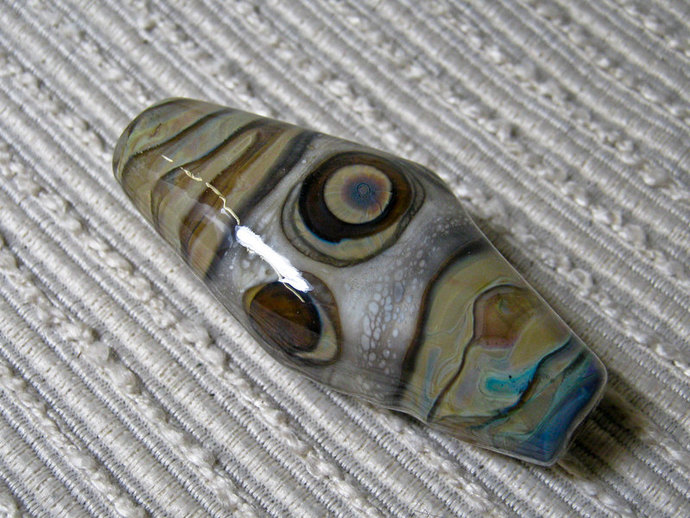 Evil Eye Amulet / Lampwork Earthy Glass Chunky Focal Bead / Fan Chain Pull Bead