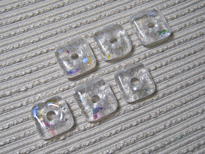MADE to ORDER  Artbeads / Handmade square Fused Glass Beads / Set of 6 / Clear