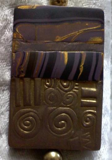 Mauve, Gold and Black Landscape Pendant