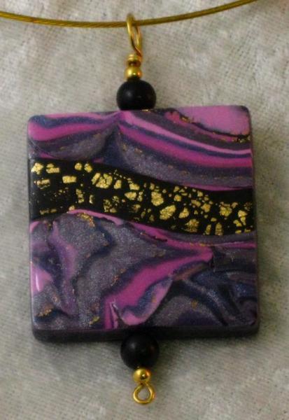 Purple, Pink, Black and Gold Landscape Pendant