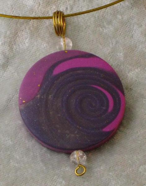 Pink, Purple & Translucent Spiral Pendant
