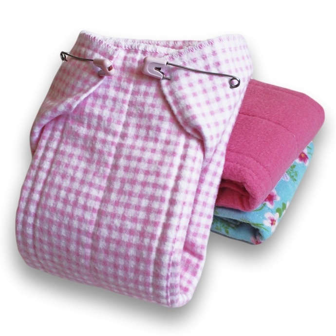 Small Reusable Cotton Flannel Baby Diapers. Girls  Prefold Cloth Diapers. Burp