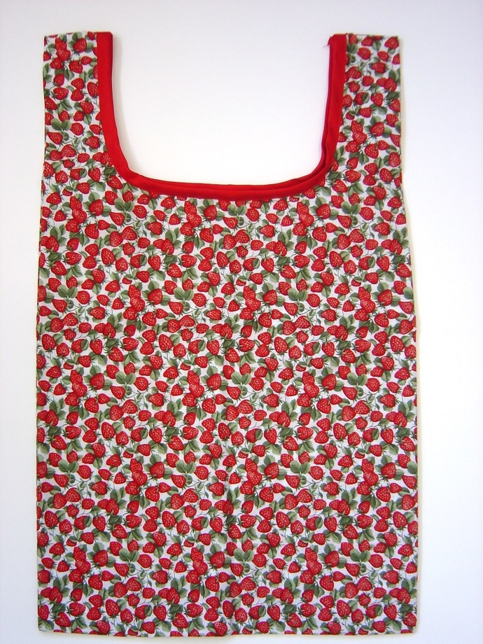 Strawberry Print Reusable Shopping Tote Bag, Market Bag