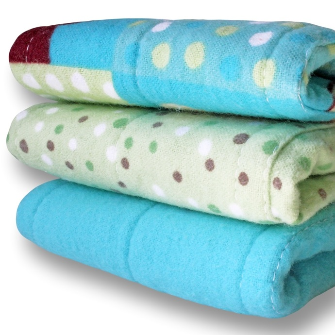 Small Prefold Cloth Baby Diapers Set of 3. Reusable Cotton Flannel Nappies. Burp