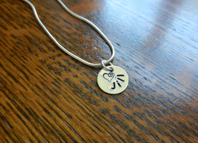 """Custom - 1/2"""" Sterling Silver Heart Pendant - Hand Stamped"""