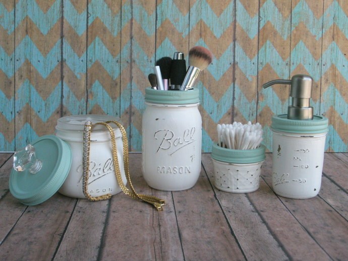 distressed mason jar bathroom setmason jar lamps and more on
