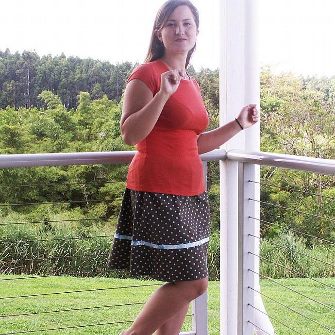 Polka Dot A Line Skirt  in Sizes M, L