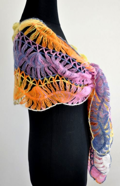 Colorful Wave Mohair Shawl