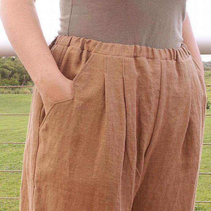 Linen Beach Walker Pants - Brown - Size Medium