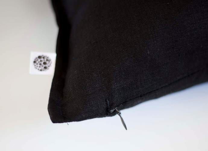 Black linen pillow cover 18x18 - classic style decorative pillows case -  linen
