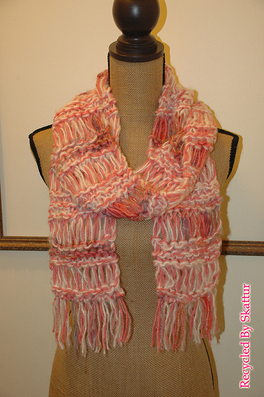 Pink Rose White Hand Knit Long Knit Scarf / Handmade Accessories Scarf Knit
