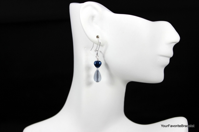 Blue Heart and Crystal Earrings