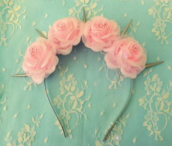 Pastel Goth Pink Flower crown with silver white spikes