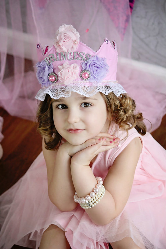 Pink Princess Birthday Crown - First birthday - Princess Crown - Couture Hair