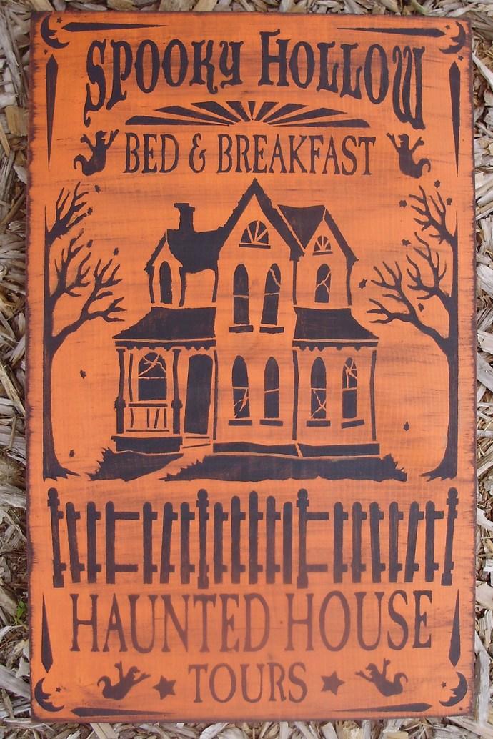 Primitive Halloween Spooky Hollow Bed and Breakfast Halloween Sign decorations