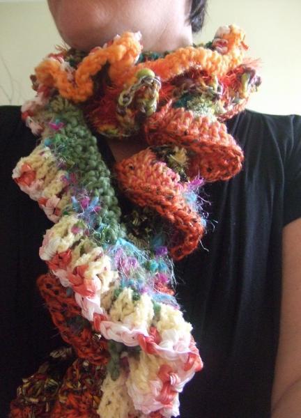 Orange curly wurly scarf