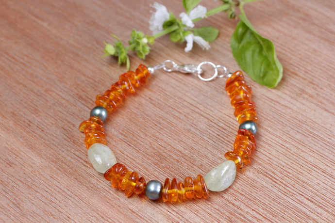 Amber Aquamarine and Pearl Bracelet