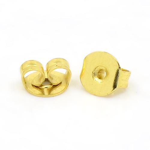50 Earring back stopper gold tone - earring stopper earnut ear stud back stopper
