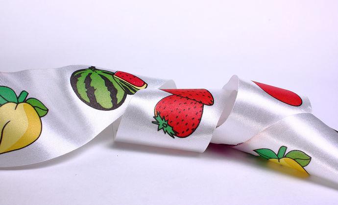 40mm fruit apple pear strawberry watermelon satin ribbon - 10 feet (R008)
