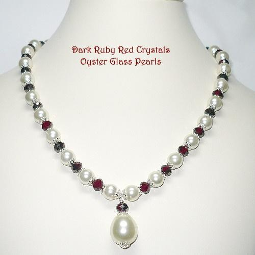 Oyster Glass Pearl & Dark Ruby Crystal Necklace Set