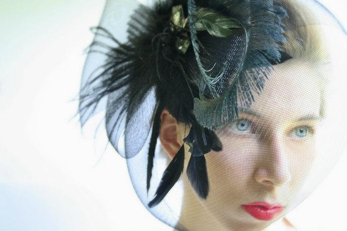 Black fascinator black wedding fascinator feather fascinator bridal headpiece