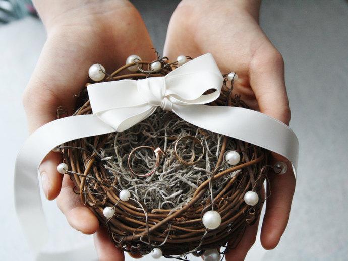 Ring bearer pillow Rustic ring box bird nest ring bearer Wedding ring box Rustic