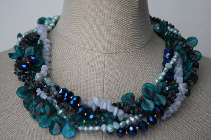 Blue Statement Necklace blue chunky necklace Semi-precious stone pearl  crystal