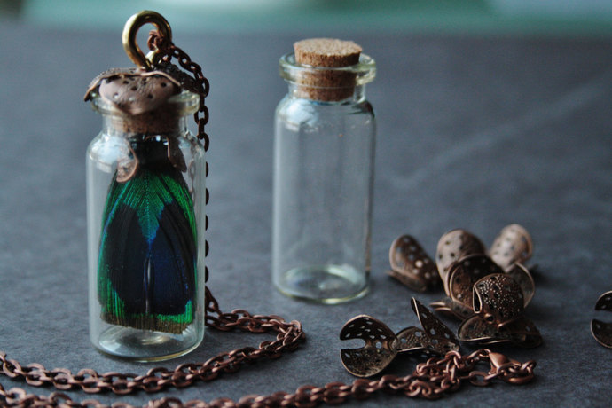 Glass vial necklace steampunk necklace steampunk peacock necklace neo victorian