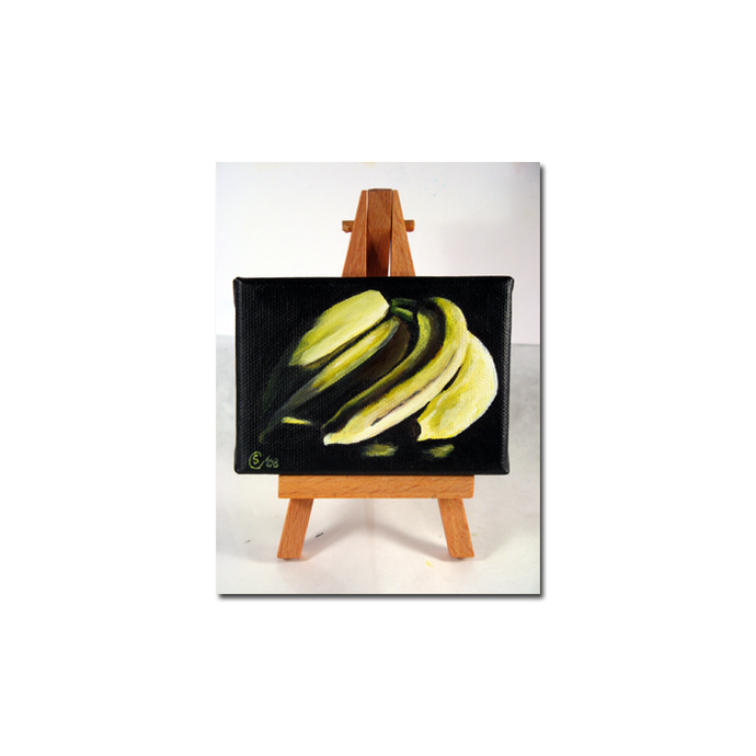 BANANAS still life WITH EASLE acrylic painting Sandrine Curtiss Original Art