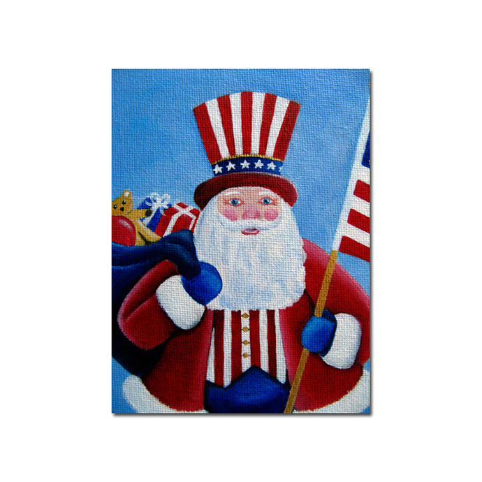 PATRIOTIC SANTA CLAUS clothtique acrylic painting Sandrine Curtiss original art