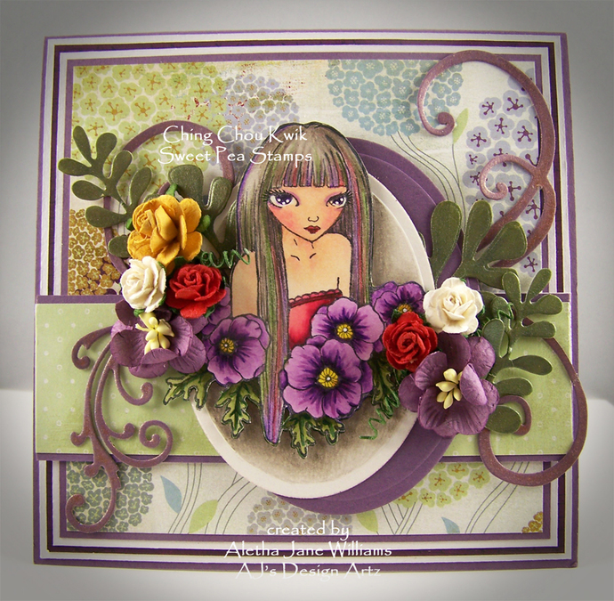 Purple Poppies and a Girl Handmade Fantasy OOAK Greeting Art Card