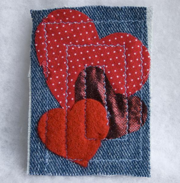 Three Hearts fabric art ACEO