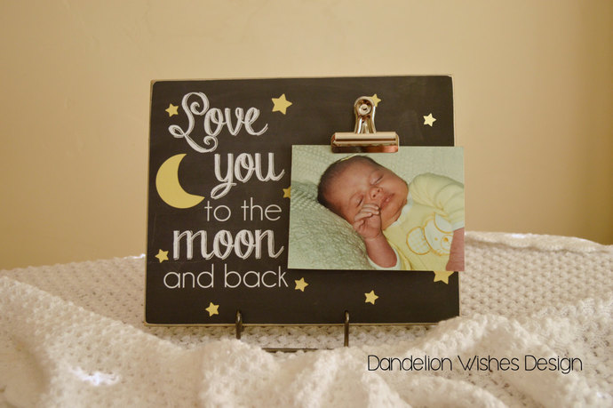 stars and moon photo clip board frame love you to the moon and back