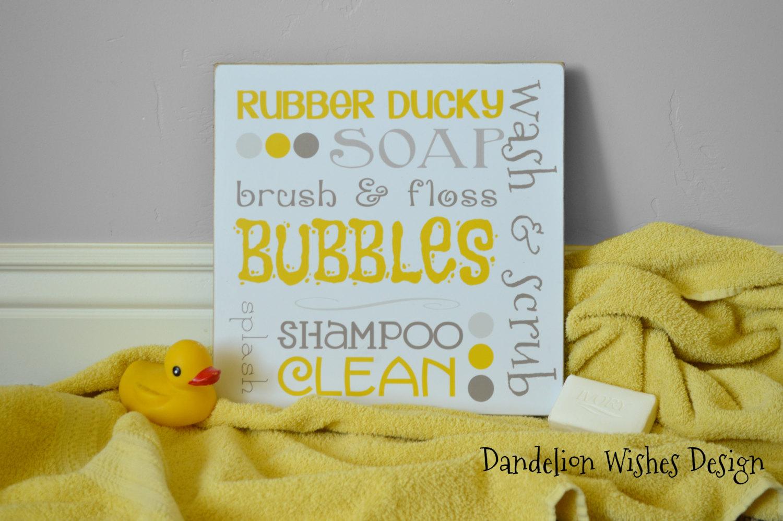 yellow and gray bath subway art | dandelion wishes design