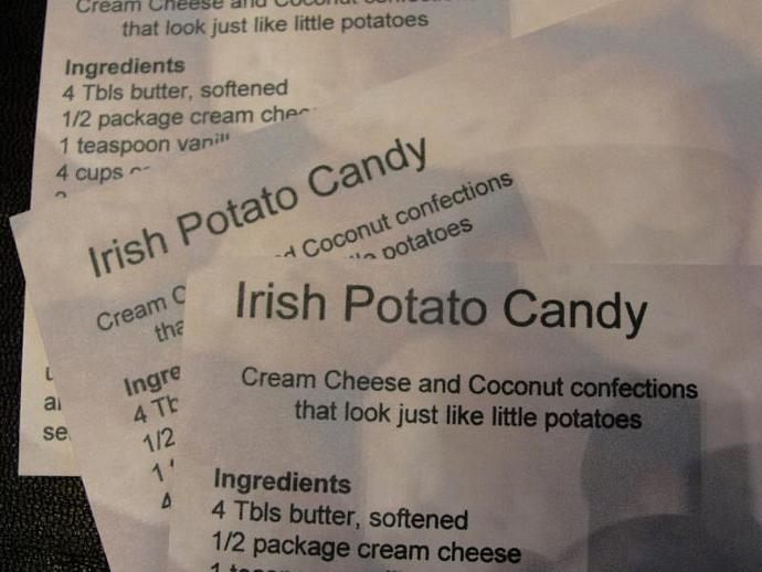 Irish Potato Candy Recipe Card