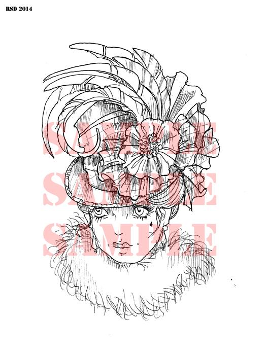 Palm Court Hat lady digital stamp