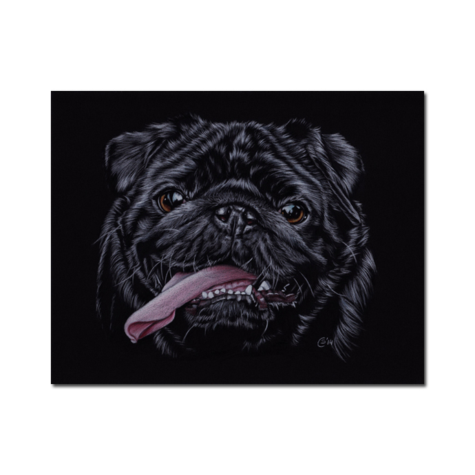 PUG 11 black puppy dog chien carlin painting Sandrine Curtiss ORIGINAL Art 8x10