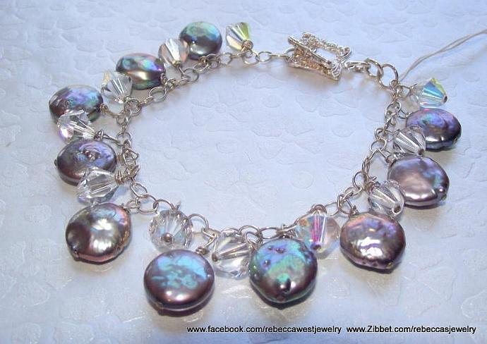 Pearly Qs ~ Fresh Water Pearl Coins, Swarovski Crystals, Silver Chain, Toggle