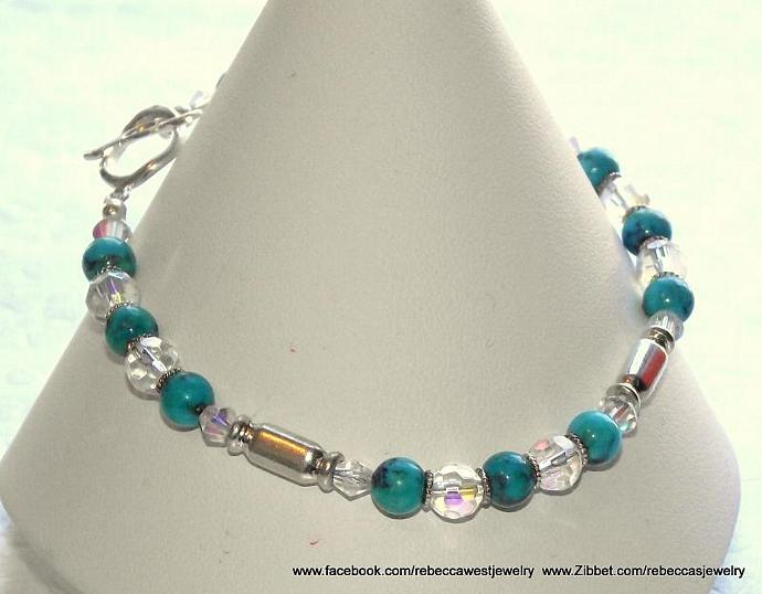 Turquoise & Silver Too ~ Turquoise Rounds, Faceted Czech Glass Rounds, Bali