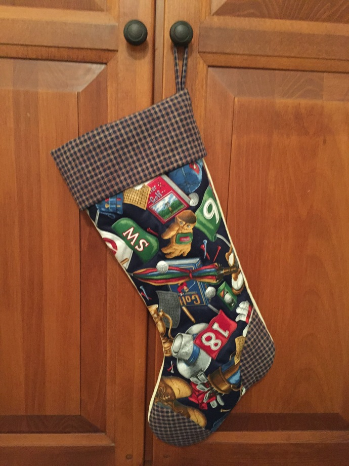 A Sports-themed Christmas stocking (GOLF) by Sewlicitations on Zibbet