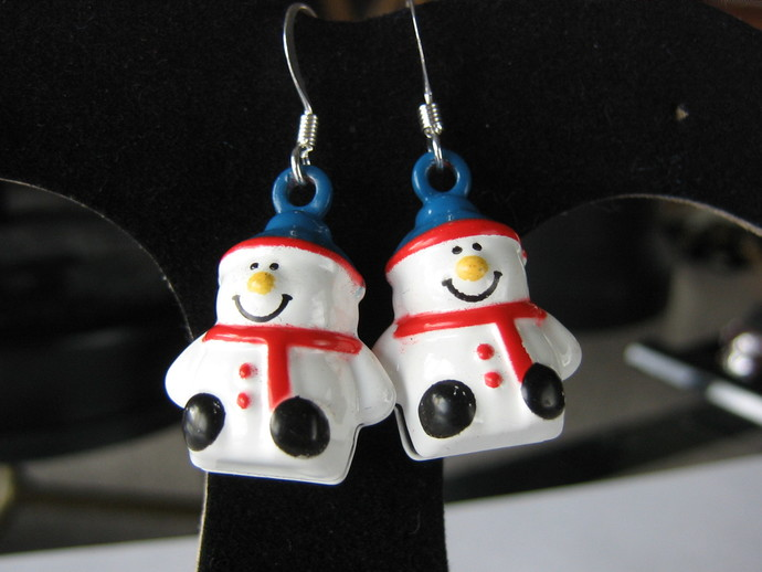 Snowman earrings with Santa hat