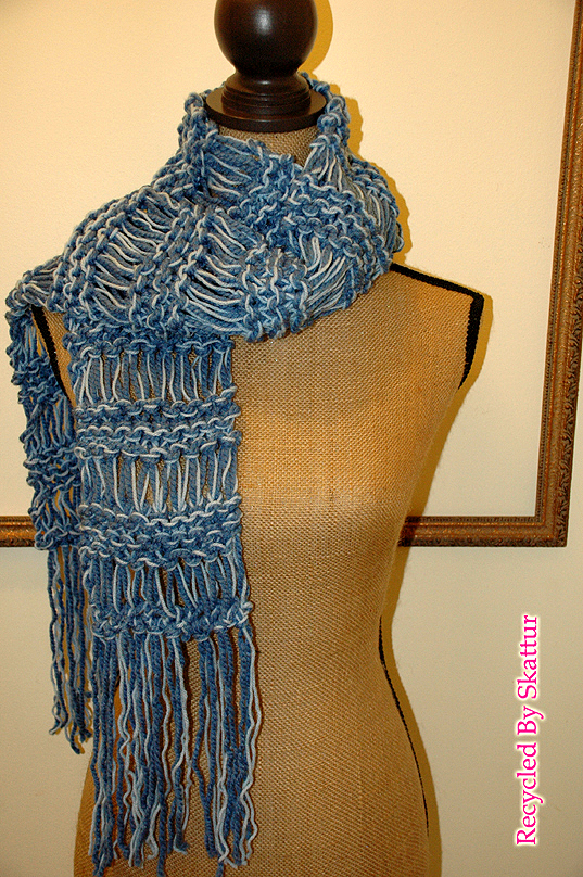 Denim Blue Chunky Hand Knit Scarf Long Fringe / Handmade Accessories Scarf Knit