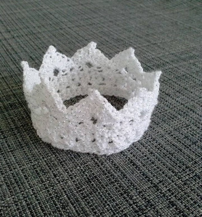 Custom Crochet White and Silver Baby Crown for Photo Prop