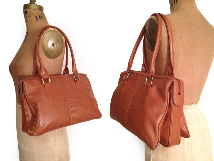 50s/ 60s Rust BROWN genuine Buttery Soft Leather structured purse/ Handbag