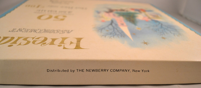 Vintage Christmas Card Box 1950s Holiday Decor Newberry Company Great Graphics